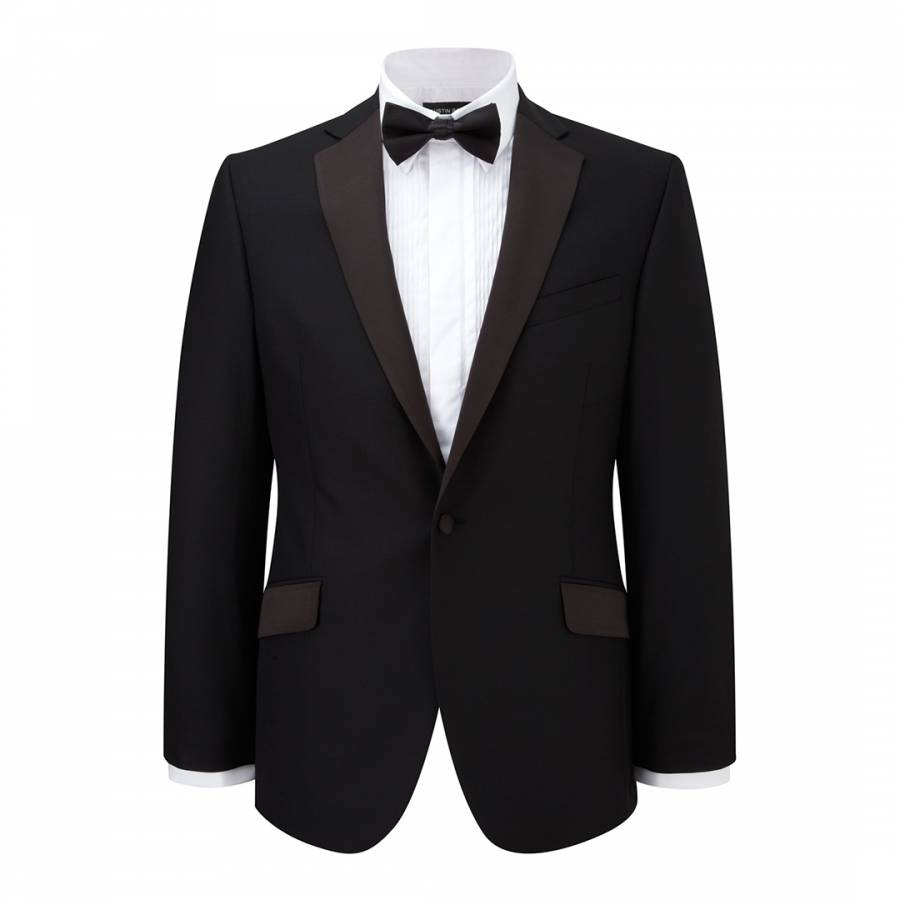 Black Satin Trimmed Lapel Wool Dinner Jacket Brandalley