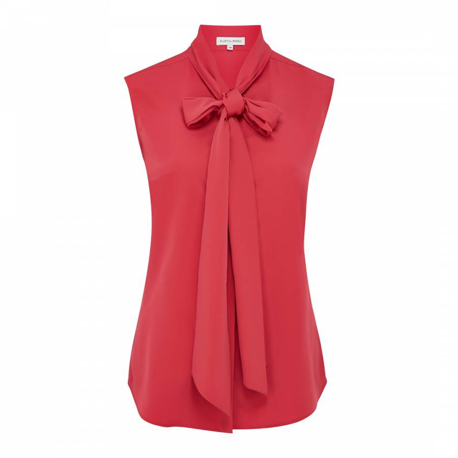 Hot Pink Sleeveless Pussybow Blouse Brandalley