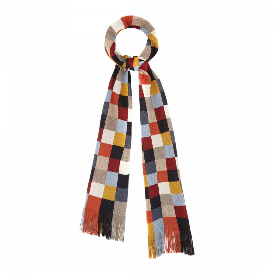 Multicolour Tonal Check Wool Blend Scarf Brandalley