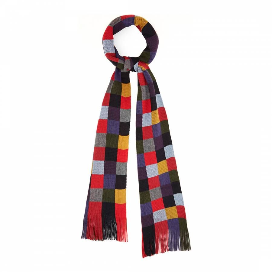 Multicolour Check Wool Blend Scarf Brandalley