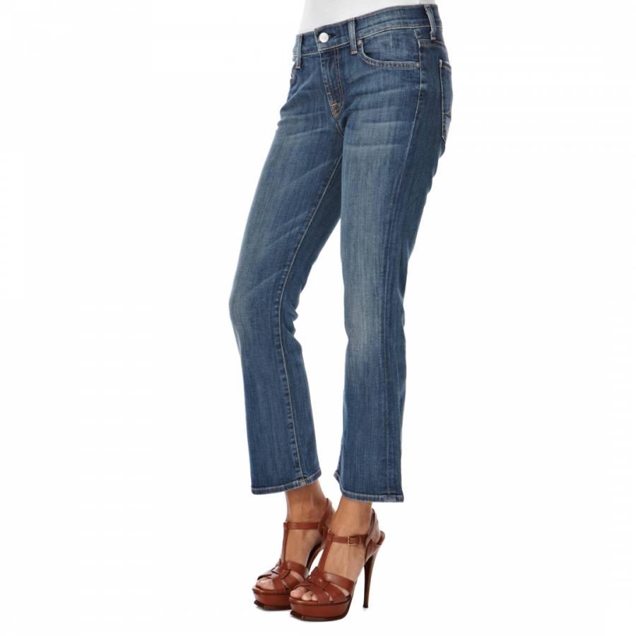 blue cropped flare denim jeans brandalley. Black Bedroom Furniture Sets. Home Design Ideas