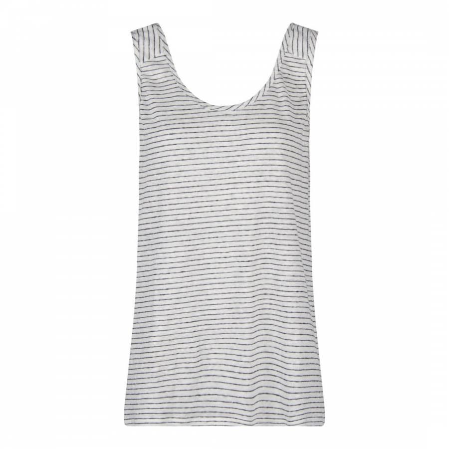 2bf0dd237f1713 White Navy Elmo Breton Stripe Linen Vest Top - BrandAlley