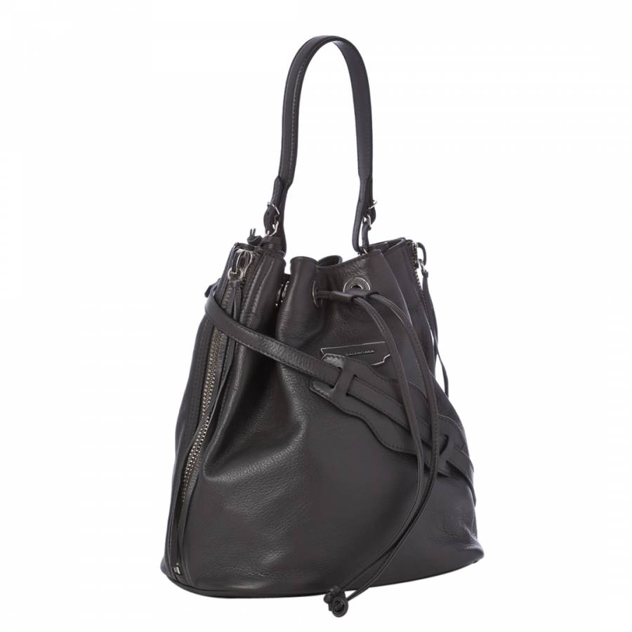 Grey Papier Plate Leather Bucket Bag - BrandAlley de4c174138ef4