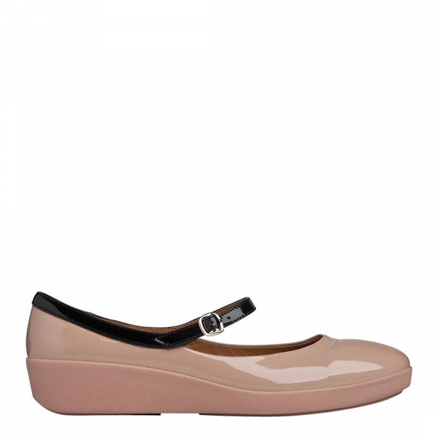 Womens Natural Fitflop F-Pop Mary Jane Shoes at Soletrader
