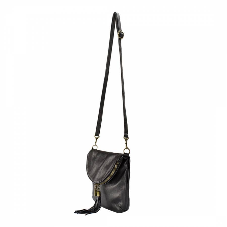 Black Leather Tassel Shoulder Bag - BrandAlley 43e446e4ea