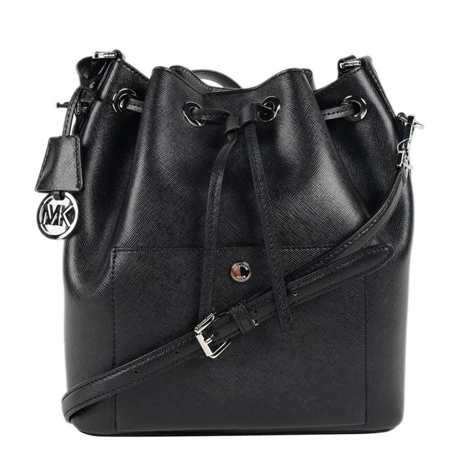 29bdc2f461fe9b Michael Kors Black Leather Greenwich Bucket Bag