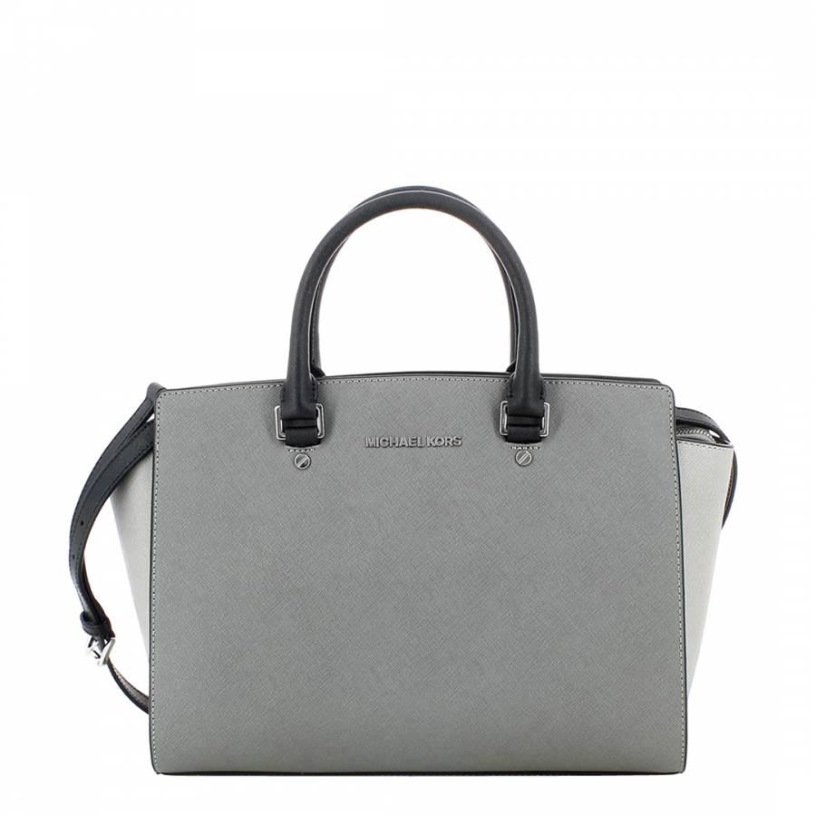 610c6293f870 Michael Kors Grey/Black Leather Medium Selma Cross Body Bag