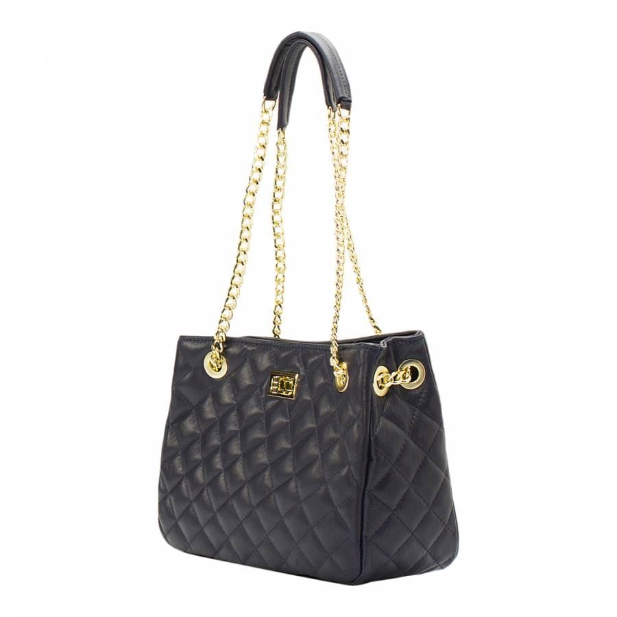 f5eef8c9a453 Navy Leather Large Quilted Shoulder Bag - BrandAlley
