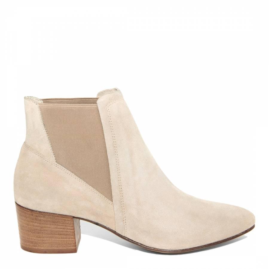 Cream Suede Liberty Chelsea Boots Heel