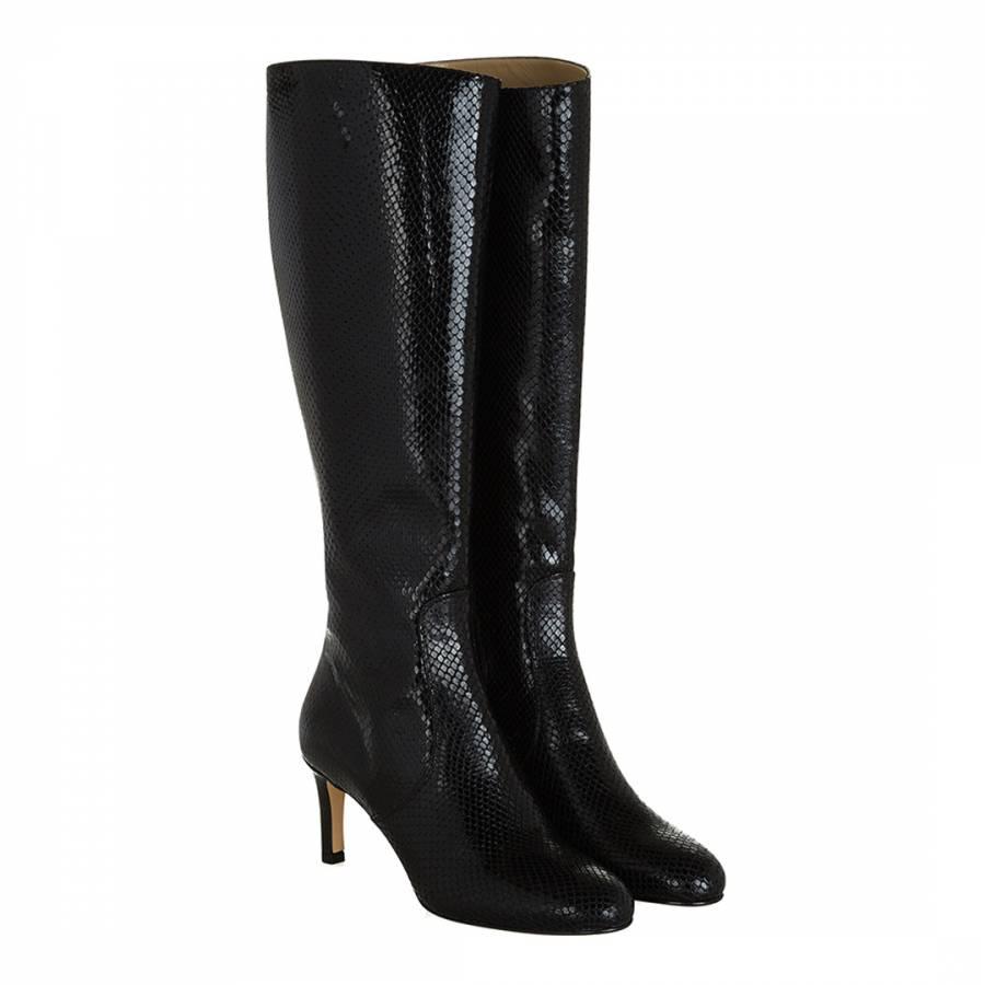 942dddaa9 Black Leather Nina Reptile Long Boots - BrandAlley