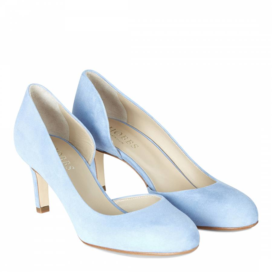 061947a17 Pale Blue Suede Tallulah D orsay Court Shoes Heel - BrandAlley