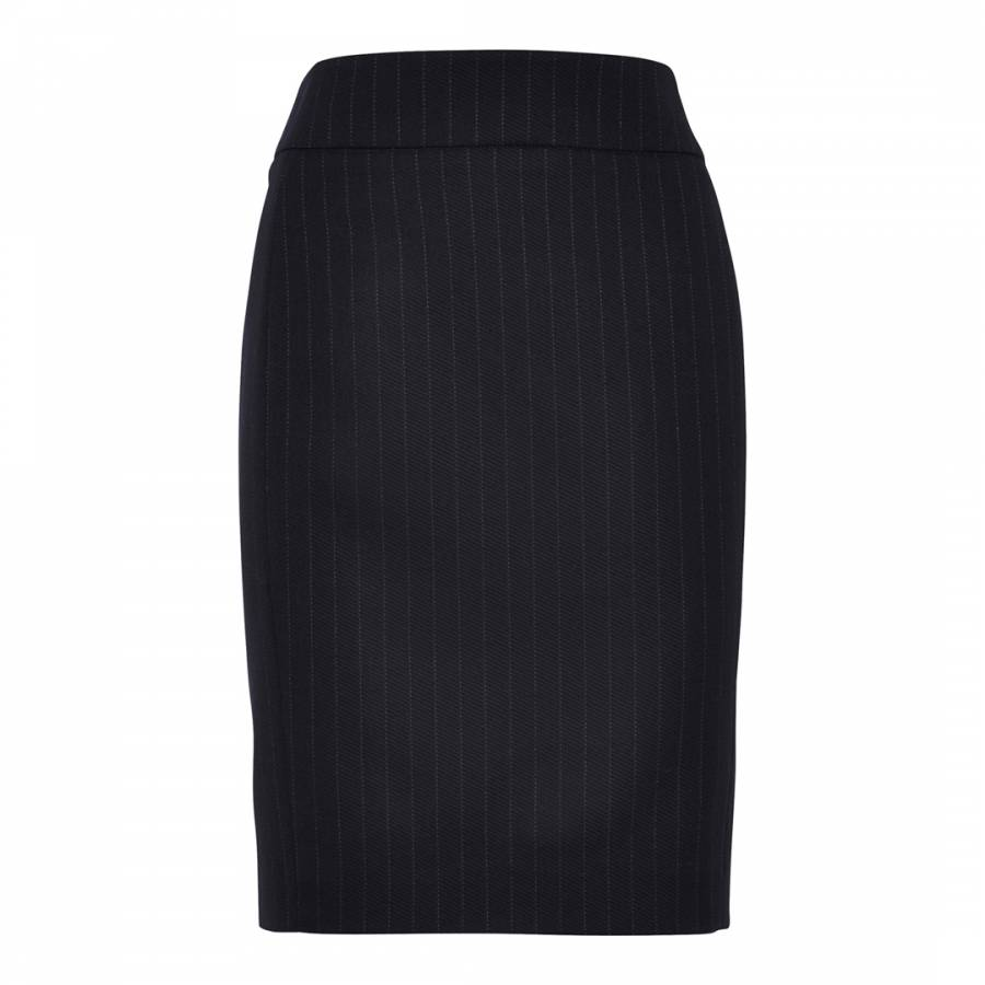 Navy Twill Stripe Wool Blend Stretch Skirt Brandalley