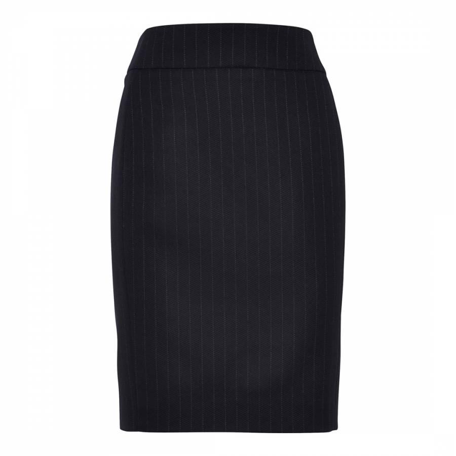 Navy Twill Stripe Wool Blend Stretch Skirt Brandalley