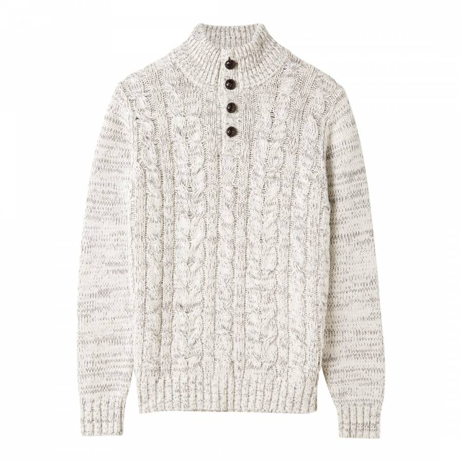 Ivory Twist Cable Knit Cotton Wool Blend Jumper Brandalley