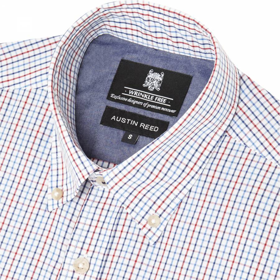 Red Blue Regular Fit Wrinkle Free Tattersall Check Casual Cotton Shirt Brandalley