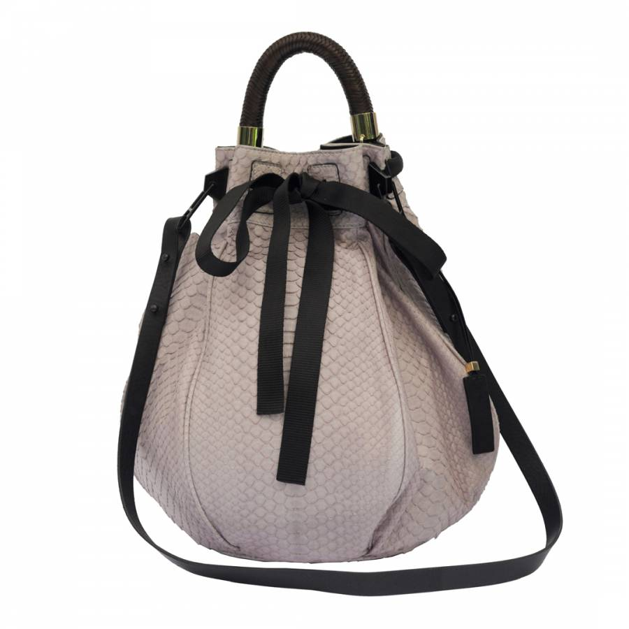 13df62fac Zoom · Pauric Sweeney Powder Pink Python Bow Bucket Bag