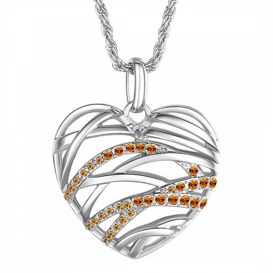 Silver/Amber Heart Pendant Swarovski Crystal Elements Necklace ...