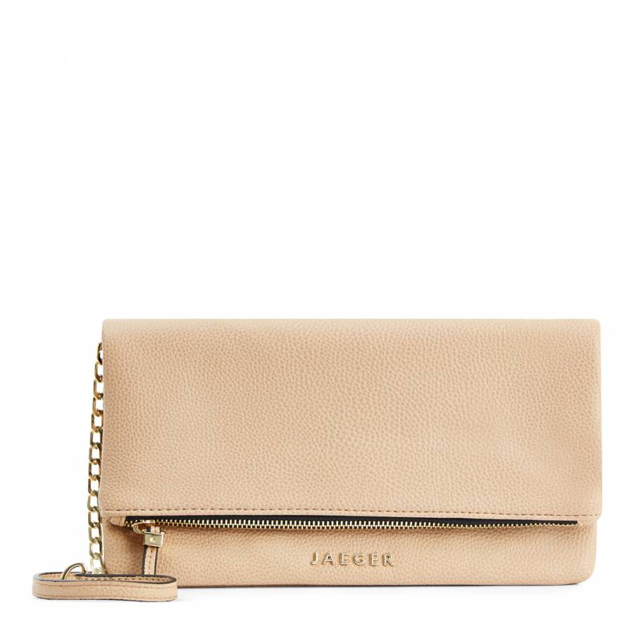 1290d9f6178c Zoom · Jaeger Beige Leather Harper Cross Body/Clutch Bag