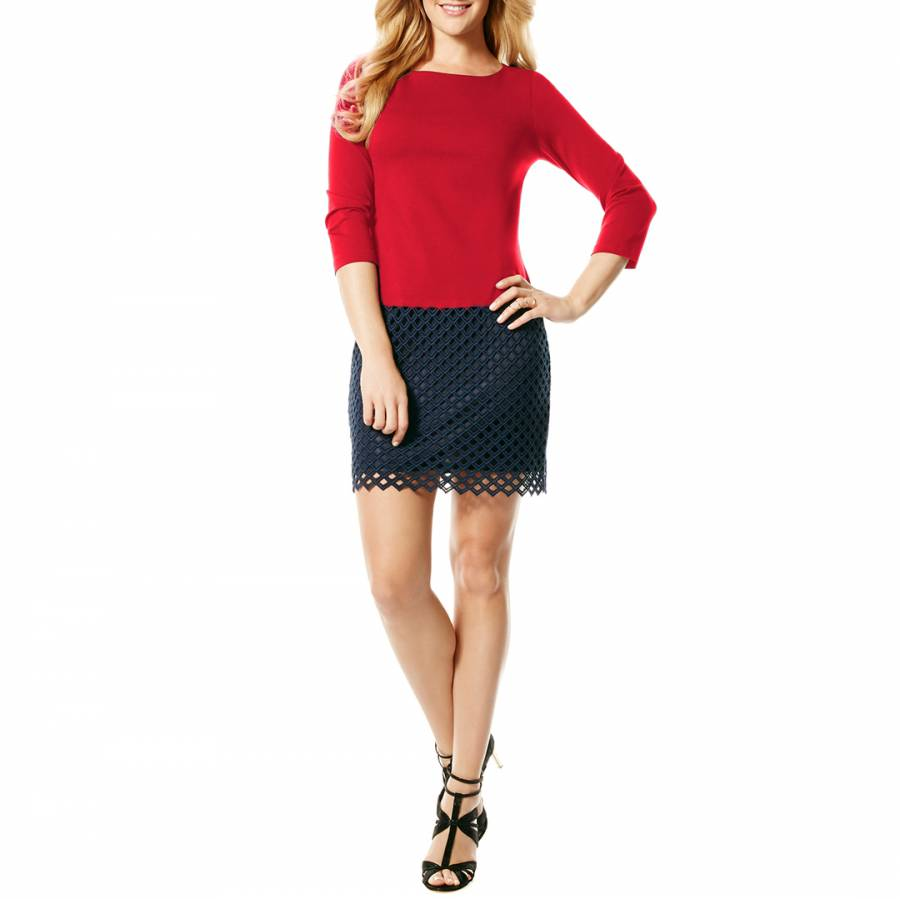 39cf811f29c Laundry by Shelli Segal Red Navy Lace Trim Shift Dress