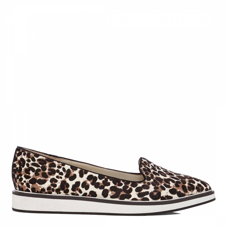 Brown Leather Sporty Leopard Print Slip