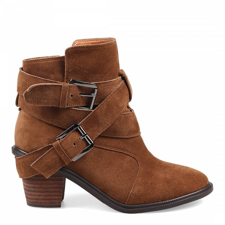 683dd653d45d Brown Leather Strap Buckle Detail Ankle Boots Heel 6.5cm - BrandAlley