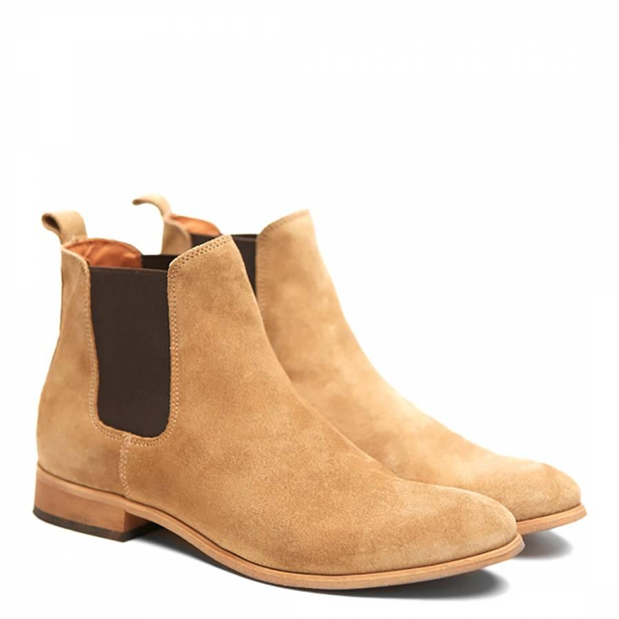 Men's Sand Suede Chelsea Boots - BrandAlley
