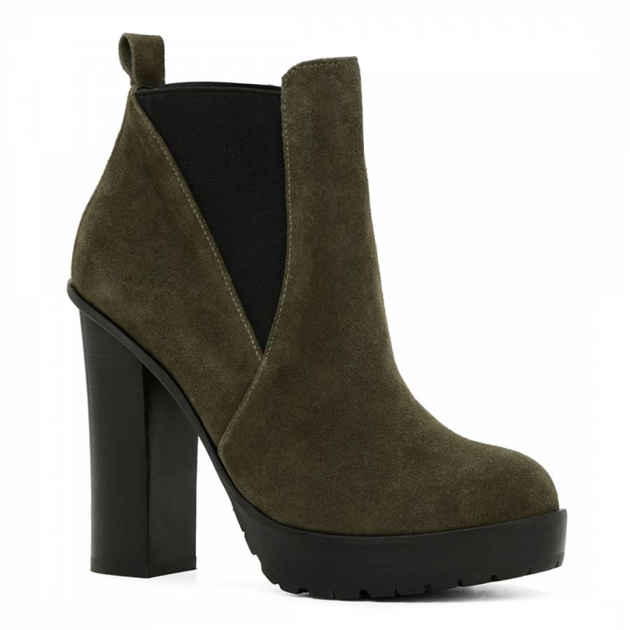 74825843d950 Dark Brown Suede Qaria Platform Ankle Boots Heel 12cm - BrandAlley