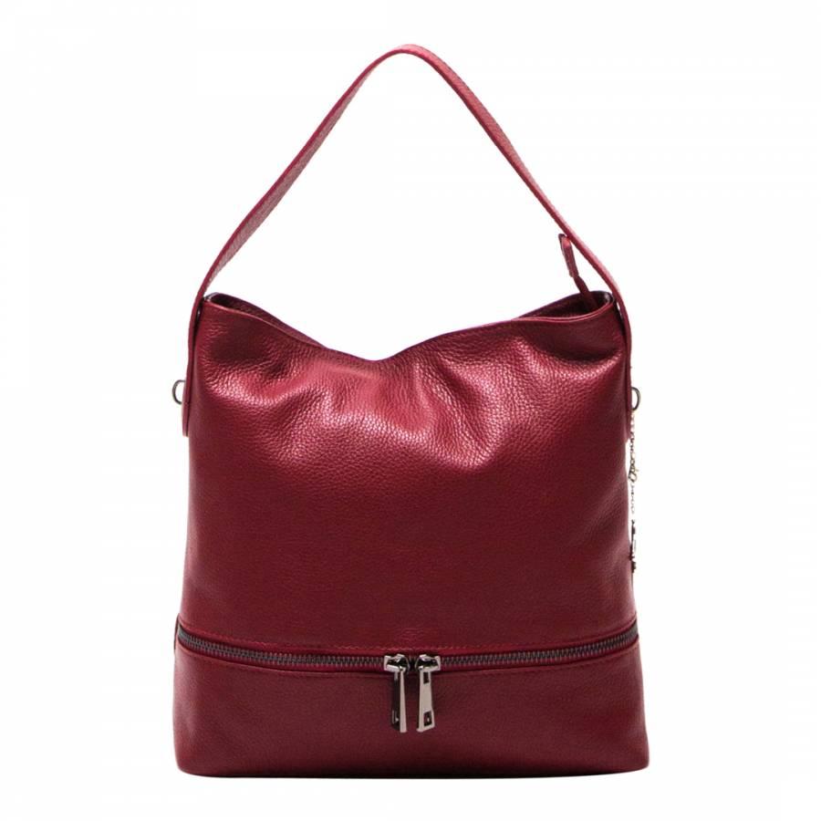 3254747e70 Luisa Vannini Red Leather Hobo Bag