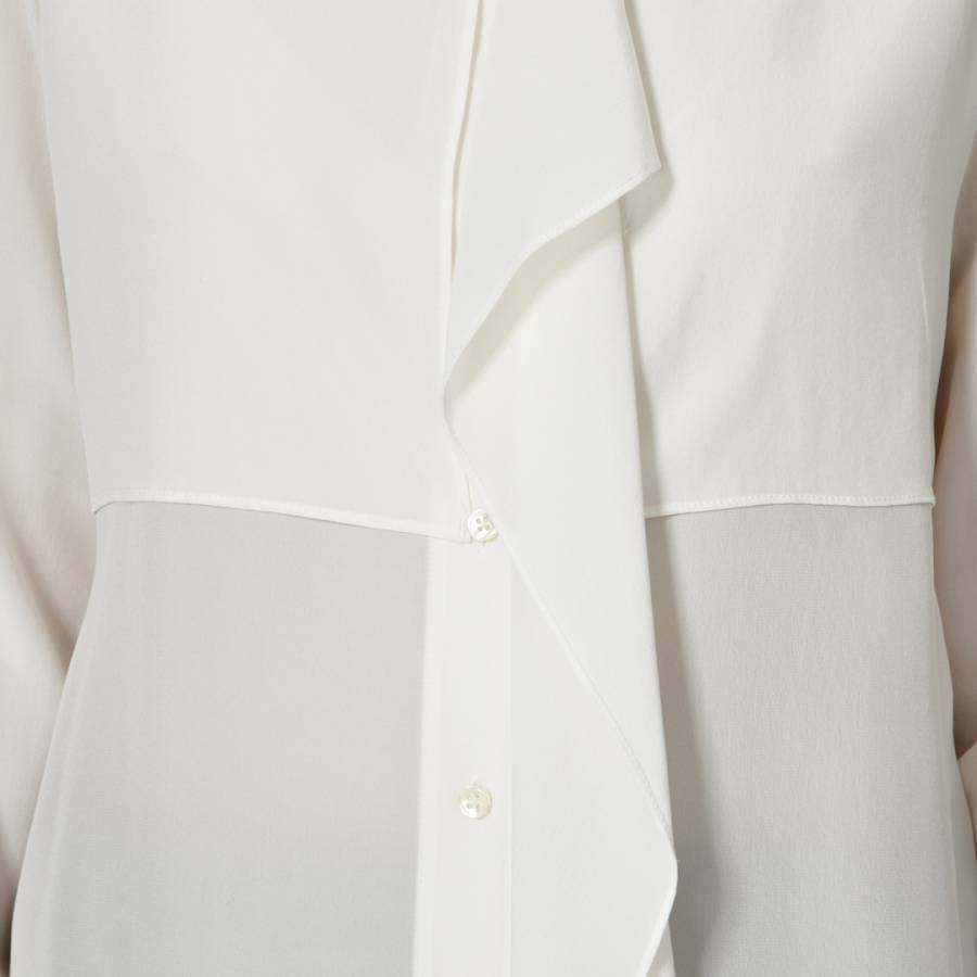 c169e6846eb9d Cream Prince Asymmetric Ruffle Silk Blouse - BrandAlley