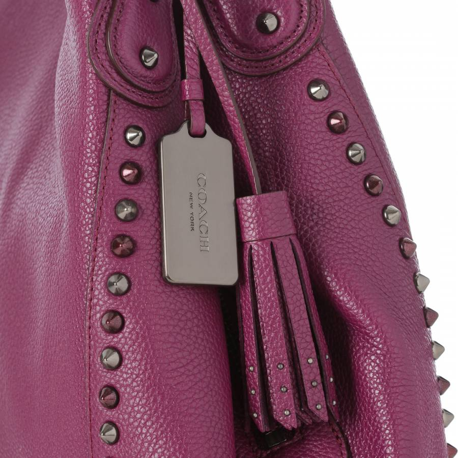 Purple Leather Edie Studs and Grommets Shoulder Bag - BrandAlley 4da76be8436f9