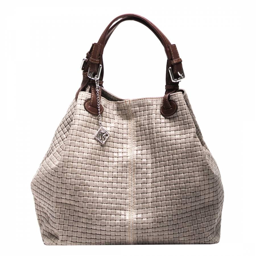 Isabella Rhea Taupe Leather Basket Weave Tote Bag d125e67002