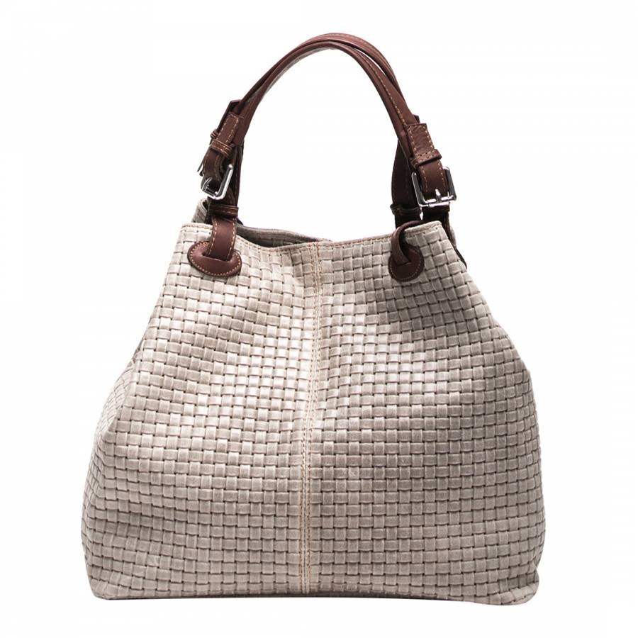 Taupe Leather Basket Weave Tote Bag - BrandAlley 92538836df