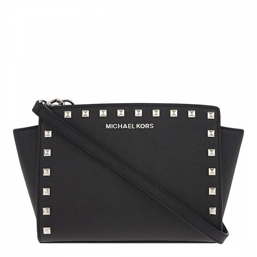 ffeeda566318 Michael Kors Black/Silver Leather Studded Selma Medium Messenger Bag