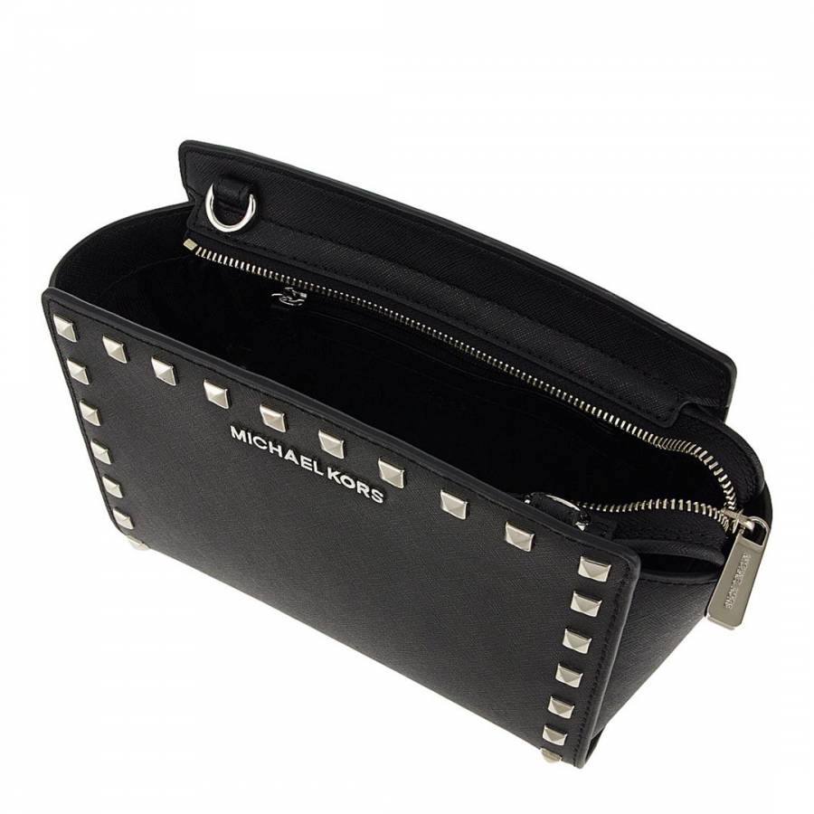 69ccc986ad7d Black/Silver Leather Studded Selma Medium Messenger Bag - BrandAlley