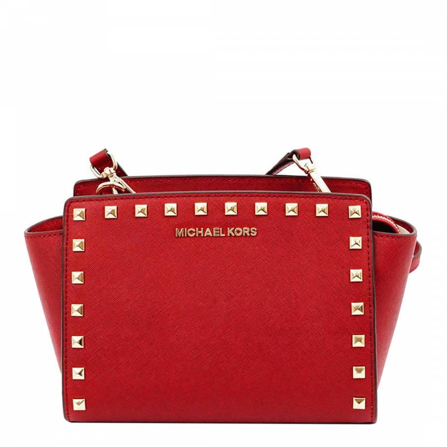 28dba5272cd2 Michael Kors Red Leather Studded Selma Medium Messenger Bag