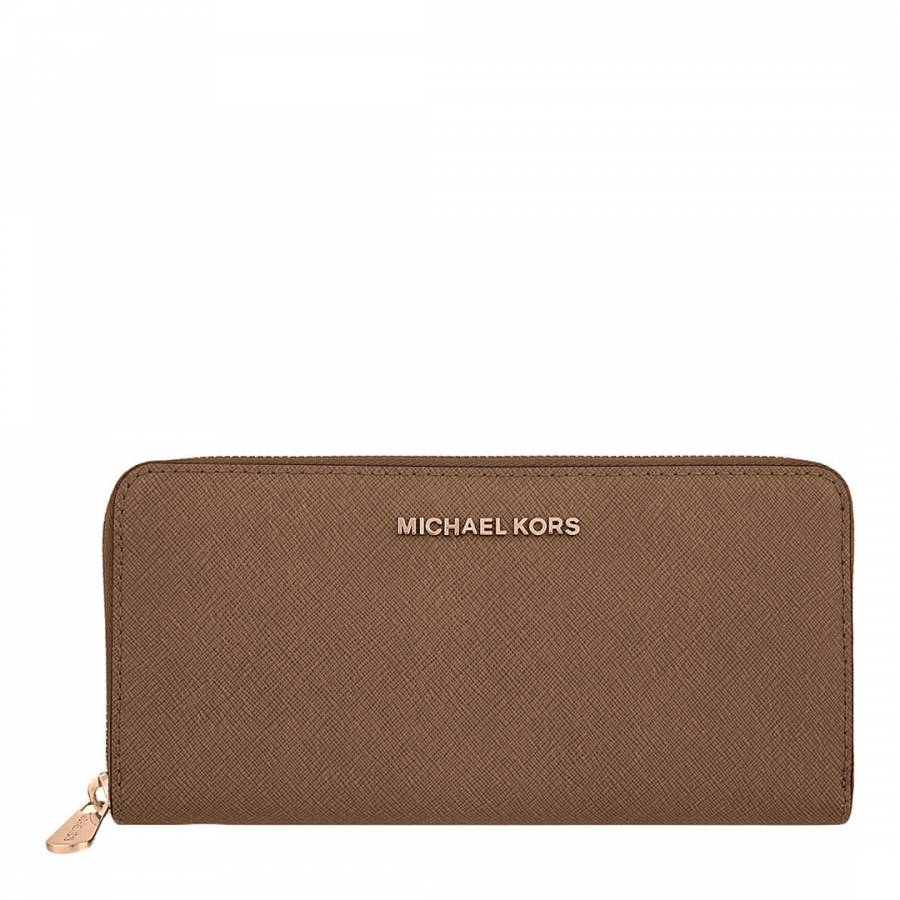 4a3ce0c4e8c2dc Michael Kors Dark Dune Leather Jet Set Travel Continental Wallet