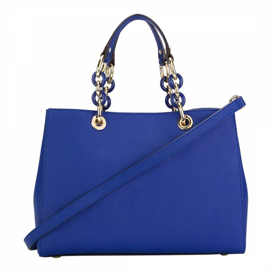 dd127c5cefb1 Electric Blue Leather Cynthia Tote Bag - BrandAlley