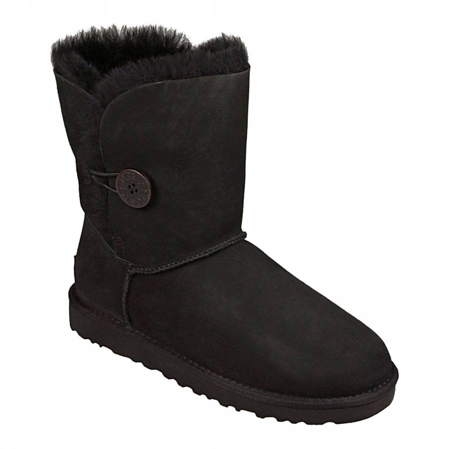 UGG Black Suede/Shearling Bailey Button Ugg Boots