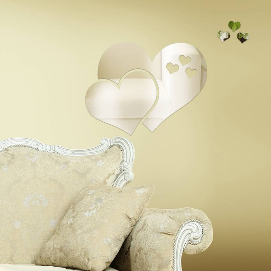 Clear Crystal Abstract Heart Mirror Wall Art - BrandAlley