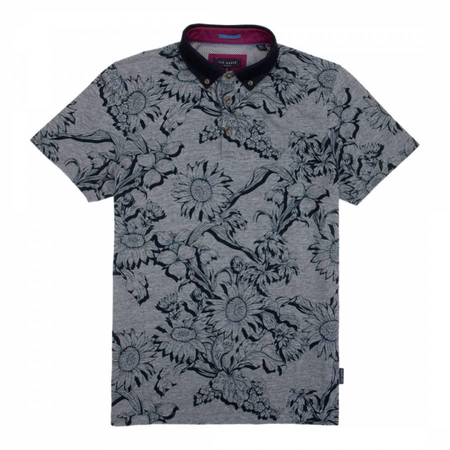 2e8b9d7857 Navy Athias Floral Print Cotton Polo Shirt - BrandAlley