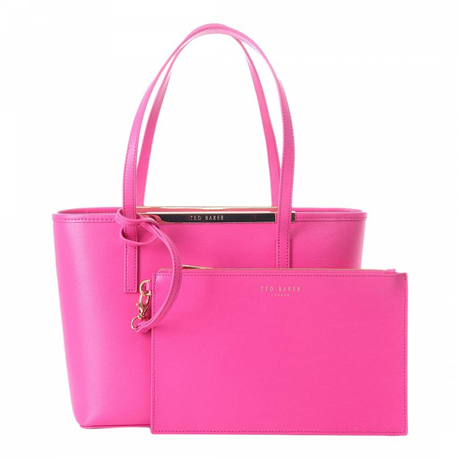 ddf433b5ed6 Ted Baker Bright Pink Crosshatch Inner Zip Small Tote. prev. next. Zoom