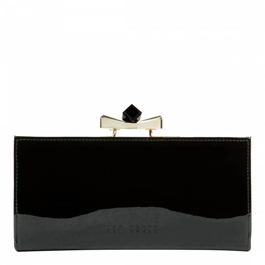 7390c1ee501 Black Leather Crystal Bow Patent Matinee Purse - BrandAlley