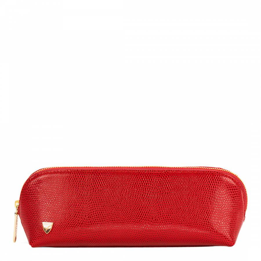 Aspinal of London Red Leather Lizard Pencil Case 907045386848c