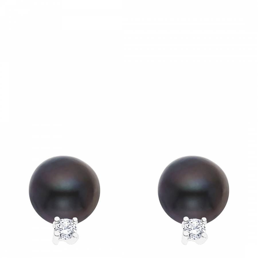 chanel black crystal earrings rare piercing ruthenium cc stud