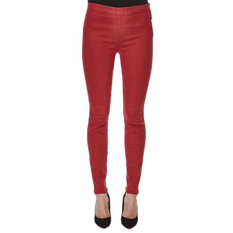 76750f84af2c4 7 For All Mankind Red High Waisted Super Skinny Stretch Jeans