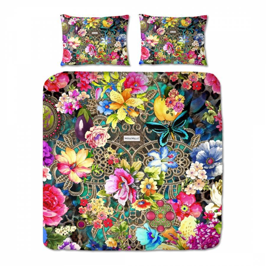 Multicoloured Rowena Cotton Satin Kingsize Duvet Set