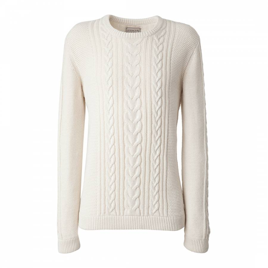 Mens White Cable Knit Cotton Sweater Brandalley