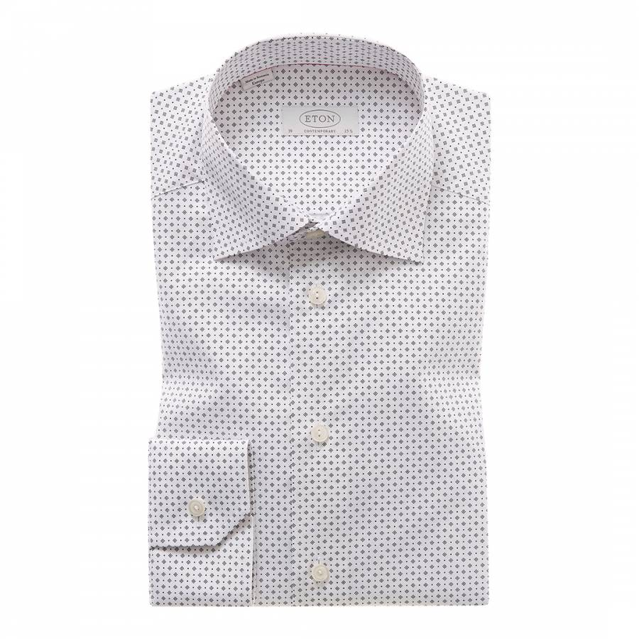 White Patterned Contemporary Fit Traditional Single Cuff Shirt