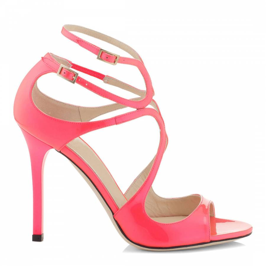 a9542a5f9579 Pink Leather Strappy Heeled Sandals 9cm - BrandAlley