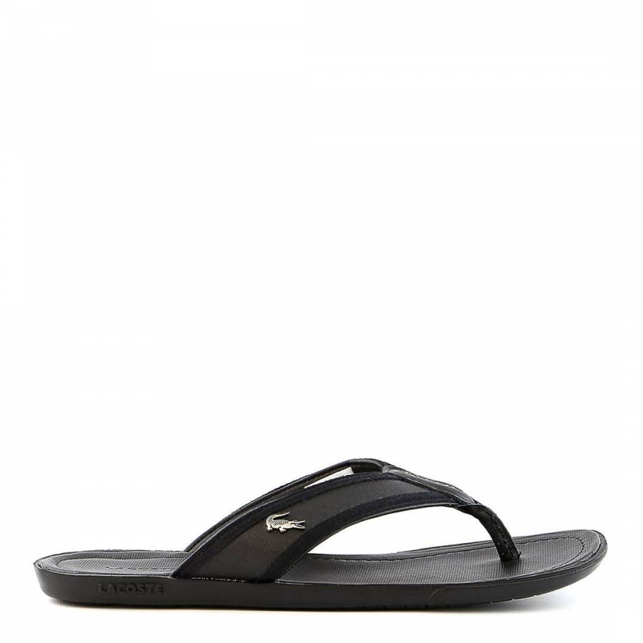 05cd33865 Lacoste Mens Black Leather Carros Flip Flops. prev. next. Zoom